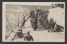 A Scottish regiment of soldiers parade on board Royal Navy HMS REPULSE in 1928
