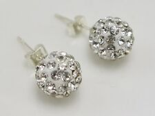 A Pair Sparkle Rhinestone Pave 10mm Disco Ball Ear Stud Earrings Pierced Jewelry