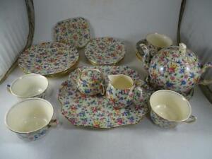 Antique Royal Winton Grimwades England Old Cottage Chintz Teapot Tea Cup Set Vtg