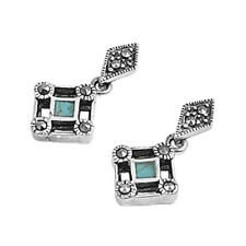 Marcasite Drop Stud Earrings Sterling Silver 925 Jewelry Gift Turquoise