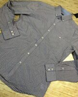 K-83 Zachary Prell Mens Button Front Shirt Blue Check Cotton Long Sleeve M New