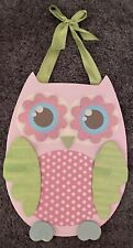 Pink Wooden Owl Wall Hanging Kid's Room Home Decoration