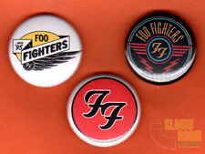 "Set of three 1"" Foo Fighters pins buttons Dave Grohl band"