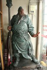 250CM High China 100% Bronze Warrior King GuanGong Guan Yu God Hold Sword Statue