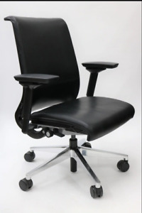 Steelcase Think Chair Leather Back and Seat with Chrome Base