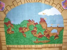 $199 POTTERY BARN KIDS CASTLE FAIRY TALE KNIGHT HUGE CANVAS WALL HANGING MURAL!