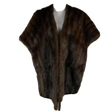 Vtg Richard Donald Authentic Mink Fur Shawl Dark Brown Jacket Soft Silky Shiny