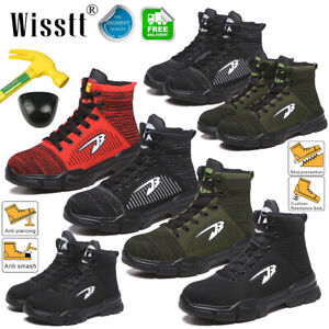 Mens Indestructible Bulletproof Safety Shoes Steel Toe Work Boots High Top Labor