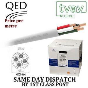 QED QX 16/4 PVC Flame Retardant 4 Core Speaker Cable - WHITE - Price Per Metre