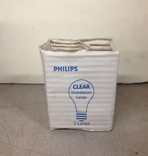 Pack Of 2 New Old Stock Philips Clear Incandescent Lamp Light Bulb 69W