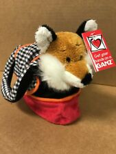 Ganz Fox In Purse stuffed plush animal 2 piece Set black white gingham check NEW
