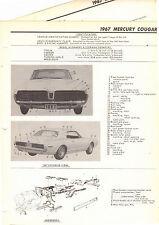 1967 MERCURY COUGAR 67 MOTOR'S ORIGINAL BODY FRAME CRASH ILLUSTRATIONS M