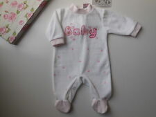 NEW Baby Girl Pink + White Velour Coverall All in One Size 00 Fits 3-6 m *Gift