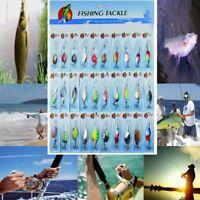 30Pcs à Cuillère Leurres De Pêche Crochet Treble Plume Appât Manivelle