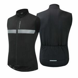 Winter Windproof Vest Jacket Thermal Fleece Sportswear Bike Jersey Black Mens