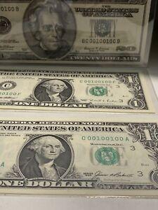 1999/1995/1985 $20&1&1 BINARY RADAR Match Notes# 00100100 UNC 99.64% Super Rare!