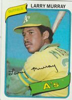 FREE SHIPPING-MINT-1980 TOPPS #284 LARRY MURRAY ATHLETICS (FACSIMILE AUTOGRAPH)