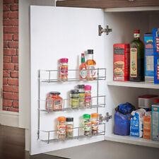 Wall Mount Kitchen Door Cupboard Storage Spice Rack Bottle Holder 1-6 Tier Metal