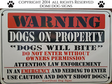 "Metal Warning Dogs Sign For FENCE ,Beware Of Dog 8""x12"" guard dogs dog will bite"
