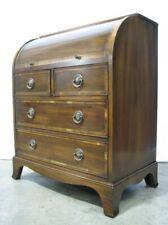 1960's High-End Georgian Style Mahogany Cylinder Desk w/Pull Out Writing Surface