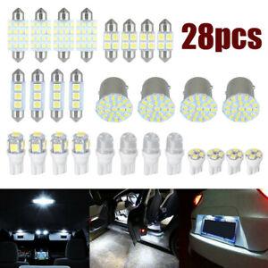 28X Combo White LED Car Interior Inside Light Dome Map Door License Plate Lights