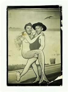 1940's Arcade Photo Army Solider Pals Funny Mermaid & Lifeguard Cut Outs gay int