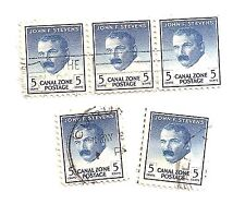 Lot of Five - Used U.S. Canal Zone John F. Stevens Postage 5 Cent Stamps