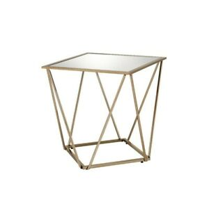 Bright Gold End Table Side Tables Living Room Accent Glass Top Square Modern New