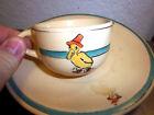 Vintage 1916-1930 Roseville Juvenile ceramic Cup & saucer, Colorful Duck w hat