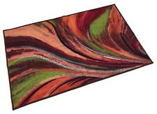 "Abstract Rainbow Waves Slip Skid Resistant Rubber Backing Runner Rug 2'x 3"" 2by3"