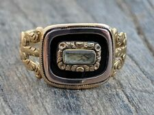 in 15K Gold with Inscription Antique Georgian Mourning Ring Hair Locket
