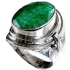 GENUINE GREEN EMERALD_HAND TOOLED RING_SZ-10__925 STERLING SILVER-NF