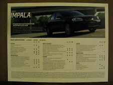 2013 Chevrolet Impala Dealership Specification Spec Card New