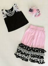 Mud Pie Bella Pearls & Polka Dots Outfit with Headband Sz 24 Mos/2T