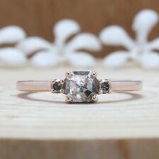 Black Grey Radiant Diamond 14K Solid Gold Ring Engagement Wedding Ring KDN9278