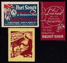 US Vintage 3 Apollo Musical, Magicians & Orchestra Cinderella Stamps (L90)