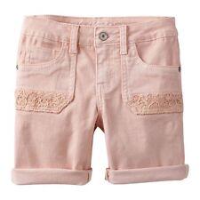 3339bdce458 Girls MUDD Crochet Pocket Stretch Denim Midi Shorts Adjustable Pink Red 7-16  NWT
