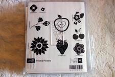 """STAMPIN' UP! """"Fruit & Flowers"""" Wood Unmounted rubber stamp Set of 9 NEW"""