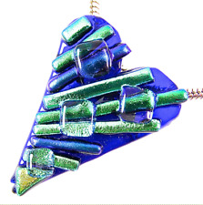 HEART BROOCH PIN & PENDANT Dichroic Fused Glass Blue Green Gold Striped Shards