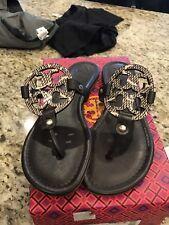 NIB Tory Burch Black Miller  Leather Sandal Thong  With Coconut Cobra Print Sz 9