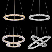 Modern Ring Crystal Chandelier Pendant LED Ceiling Lamp Lighting Light Fixtures