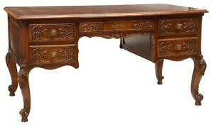 Antique Desk, Writing, French Louis XV Style Fruitwood Desk, Parquetry, 1900's!