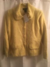 Sz L NWT Venesha ANGORA Yellow ROUND COLLAR Lined CARDIGAN Jacket SWEATER Coat