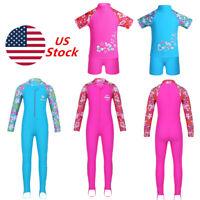 US Toddler Kids Girl Sun Protective Swimwear Rash Guard Costume Surfing Swimsuit