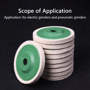 "UK 10Pcs 100mm 4"" Green Wool Buffing Angle Grinder Wheel Felt Polishing Disc Pad"