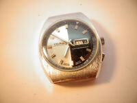 VINTAGE  TWO CROWN CHATEAU DIVER BLACK AND SILVER DIAL WATCH FOR RESTORATION