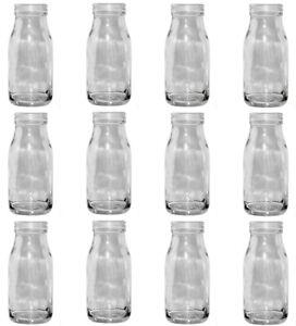 12er Set Glasflaschen DORO 13,7x6 cm Milchflasche Milk Bottle Blumenvase Deko