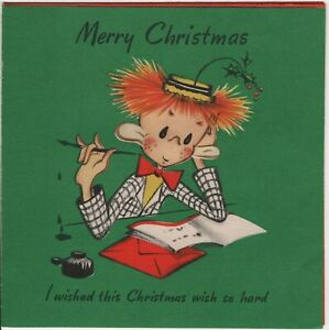 Mistletoe Hat Orange Hair Man Ink Well 1945 Vintage Hall Brothers Hallmark Card