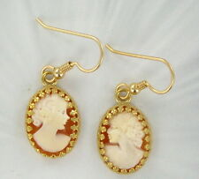 SHELL CAMEO EARRINGS ------ CARVED IN ITALY......14KT ROLLED GOLD
