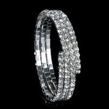 Upper Arm Cuff Swirl Silver Rhinestone Diamante Diamond Party Wedding Accessory
